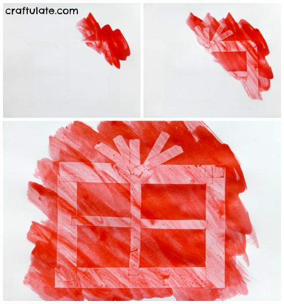 Sticky Tape Resist Christmas Gift Art