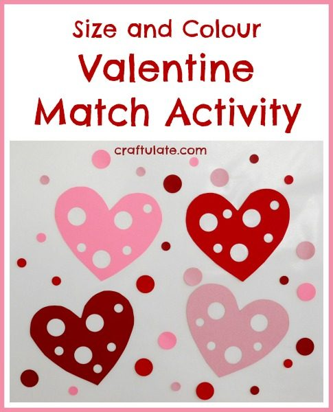 Size and Colour Valentine Match Activity from Craftulate