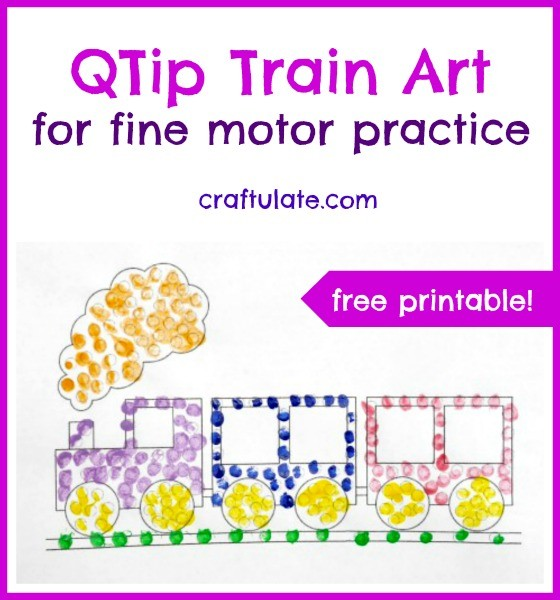 QTip Train Art for fine motor practice from Craftulate