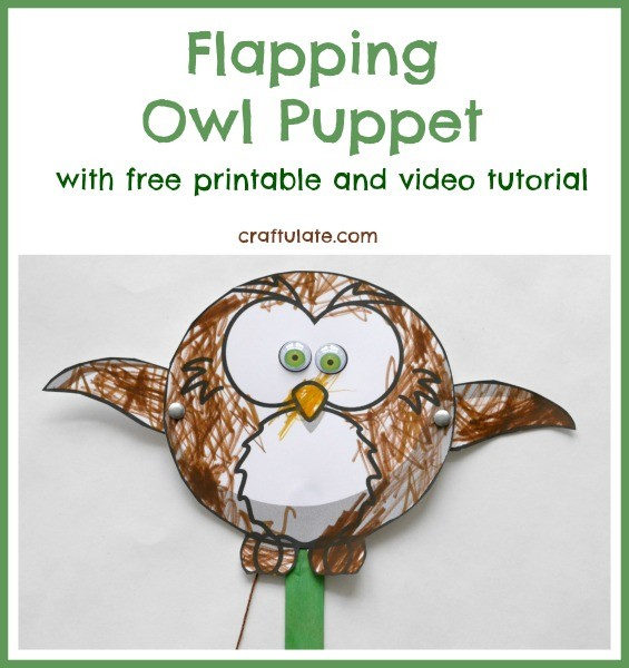 Flapping Owl Puppet by Craftulate - free printable and video tutorial!!