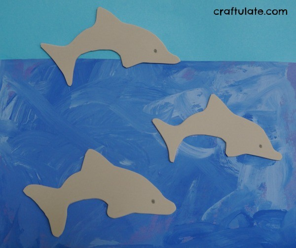 Dolphins in the Ocean Art - art activity for kids to make