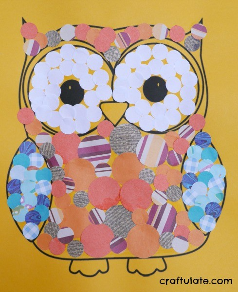 Owl Collage - a fun art project for kids to make with circle paper punches!