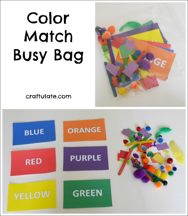 Color Match Busy Bag for toddlers or preschoolers