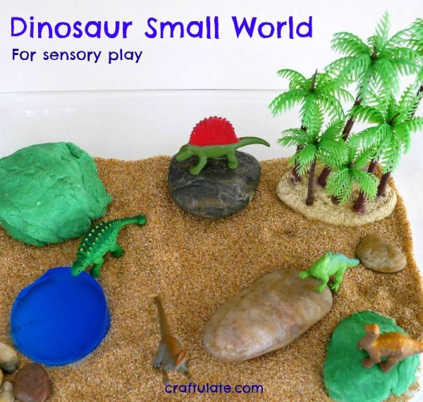 Dinosaur Small World for sensory play from Craftulate