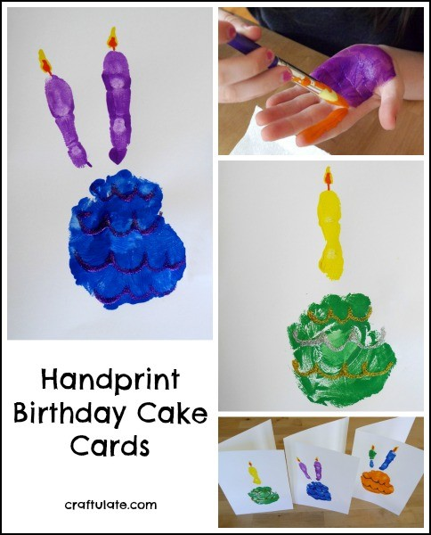 Handprint Birthday Cake Cards - a fun craft for kids to make for little ones!