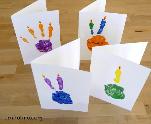 Handprint Birthday Cake Cards