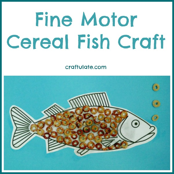 Fine Motor Cereal Fish Craft from Craftulate