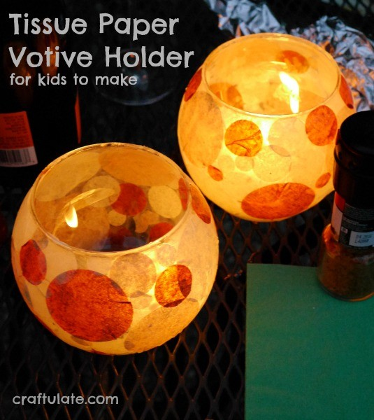 Tissue Paper Votive Holder - perfect for citronella!