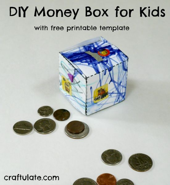 DIY Money Box for Kids - with free printable template