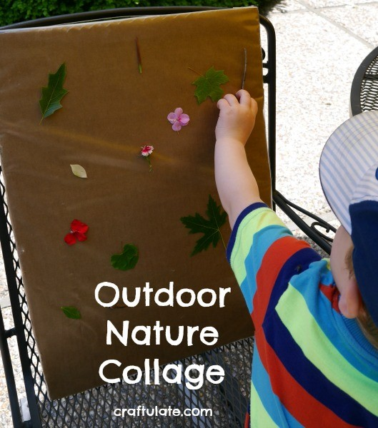 Outdoor Nature Collage - use natural items to make this art with the kids!