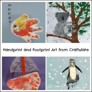 Handprint and Footprint Art from Craftulate