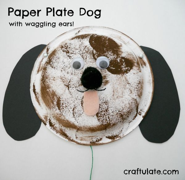 Paper Plate Dog - pull the string to make the ears waggle!
