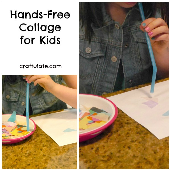 Hands Free Collage for Kids - using straws!