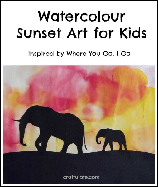 Watercolour Sunset Art for Kids - an easy and beautiful art technique