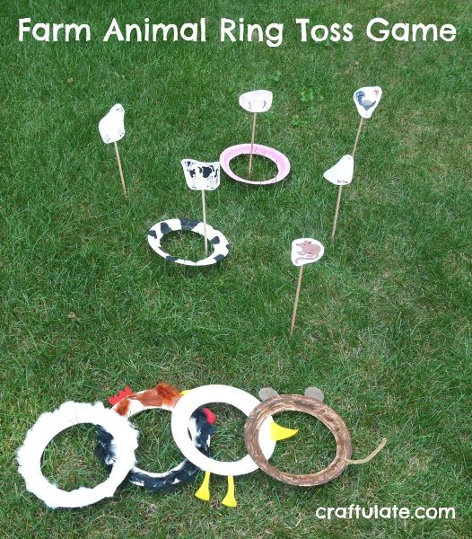 Farm Animal Ring Toss Game - a fun gross motor game