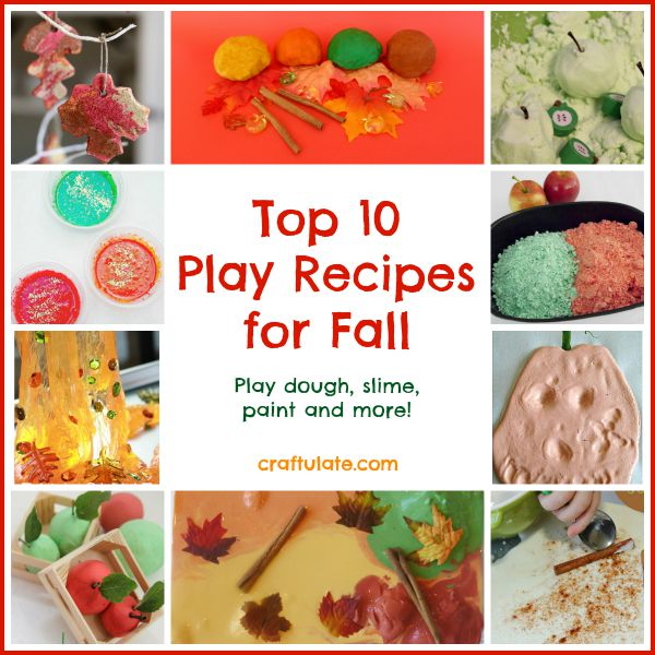 Top 10 Play Recipes for Fall - play dough, slime, paint and more!