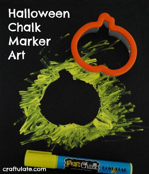 Halloween Chalk Marker Art - using cookie cutters!