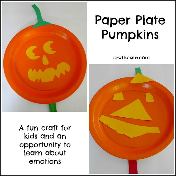 Paper Plate Pumpkins - a fun Halloween craft for kids