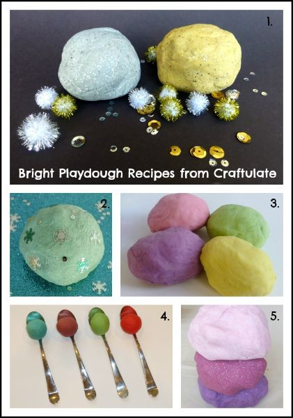 Bright Playdough Recipes from Craftulate