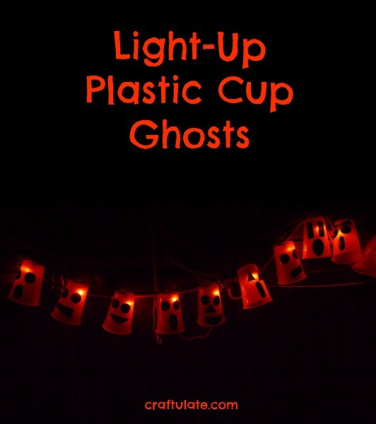 Light-Up Plastic Cup Ghosts - a fun Halloween craft for kids