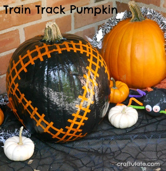 Train Track Pumpkin - perfect for train lovers!