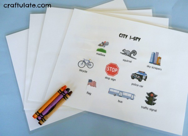 Road Trip I-Spy for Preschoolers - four different printable worksheets