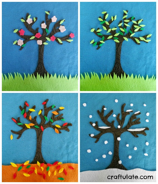 Kids Calendar Art Ideas : Four seasons felt tree craftulate