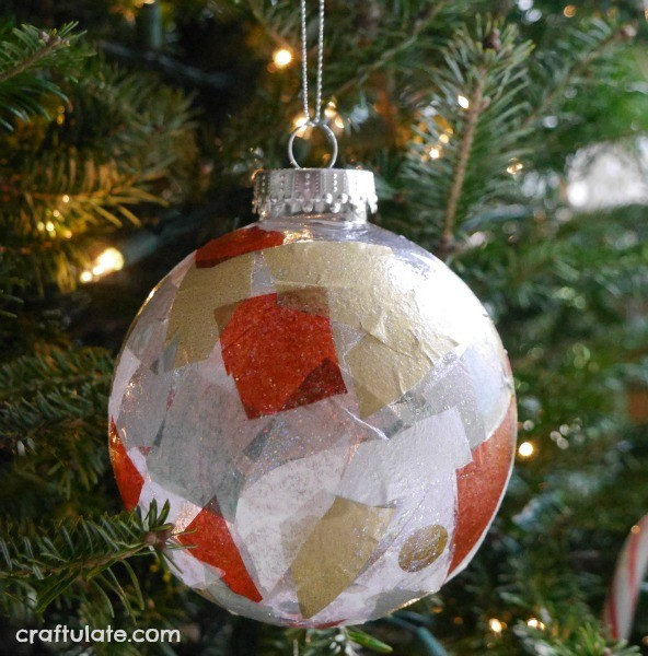 Tissue Paper Ornaments - an easy Christmas craft for kids to make!