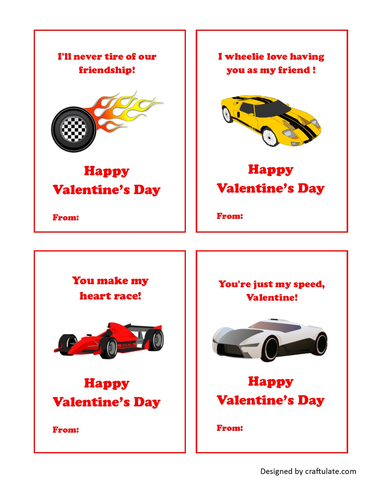 Home / Printables - Gifts / Hot Wheels Valentine Card Printables