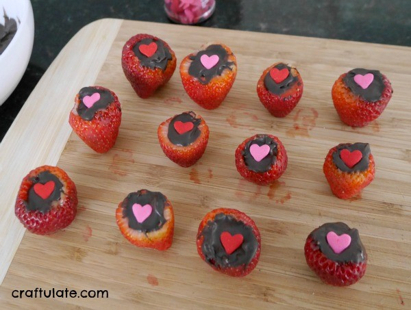 Valentine Chocolate Filled Strawberries - a fun snack for kids AND adults!