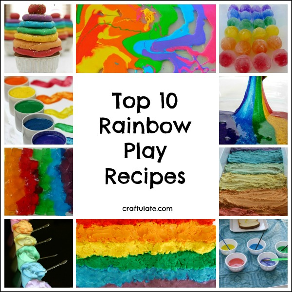 Top 10 Rainbow Play Recipes - play dough, paint, slime, sand, and more!