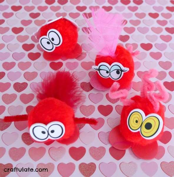 Valentine Pom Pom Bugs - a cute craft to make with kids!