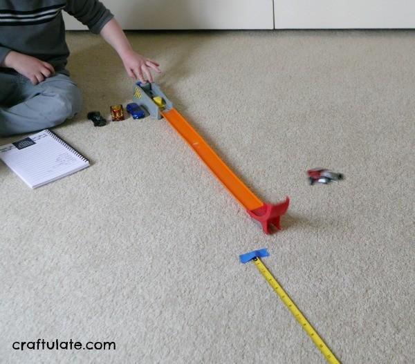 Measuring Hot Wheels Car Jumps - basic recording data skills for kids