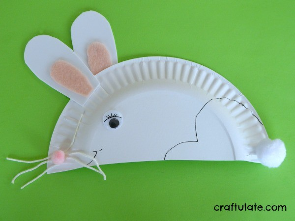 Paper Plate Rabbit - a fun craft for kids to make for Easter or spring!