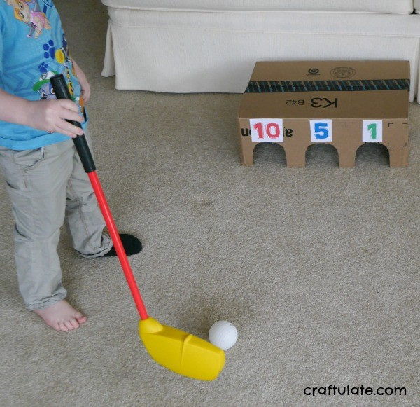 Indoor Golf Game for Preschoolers - made from a cardboard box!