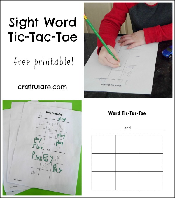 Sight Word Tic-Tac-Toe for Kids with free printable