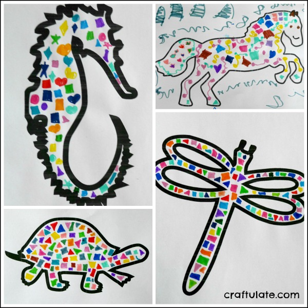 Easy Animal Mosaics - kids will love this art technique!