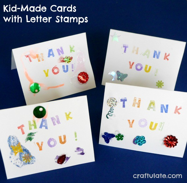 Kid Made Cards with Letter Stamps
