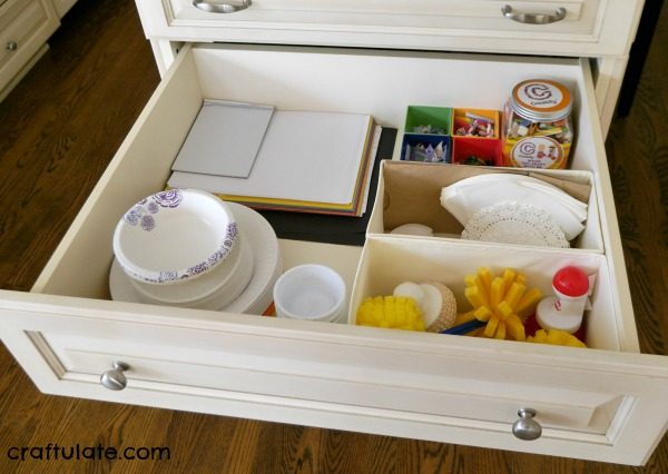 Organizing Kids' Craft Materials - tips on how to store and organize materials in the home