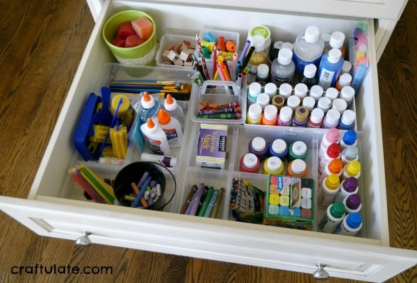 Organizing Kids' Crafts Materials - tips on how to store and organize materials in the home
