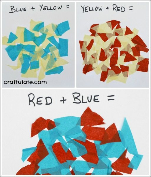 Primary Colour Mixing Activity - use tissue paper to make primary colours turn into secondary!