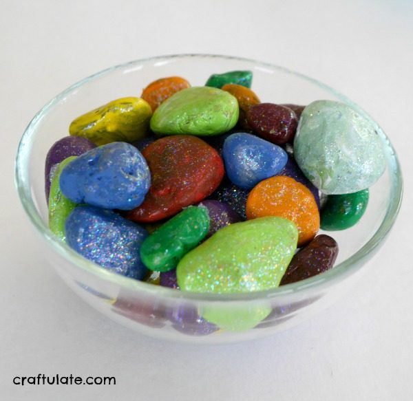 Sparkly Painted Rocks - a fun craft for kids to make!