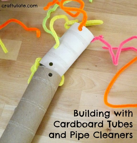 Building with Cardboard Tubes and Pipe Cleaners - a fun activity idea for kids