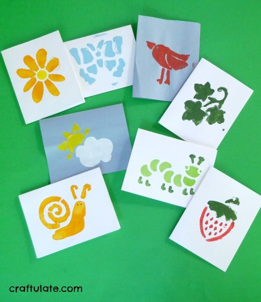 Easy Stencil Cards to make with Kids - such a fun way to make greeting cards!