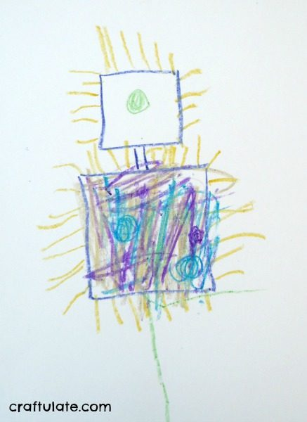 Metallic Crayon Robot Art - a fun drawing project for kids