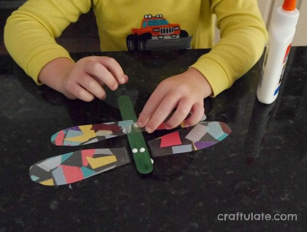 Dragonfly Craft for Kids - made from sticky paper, tissue paper and craft sticks!