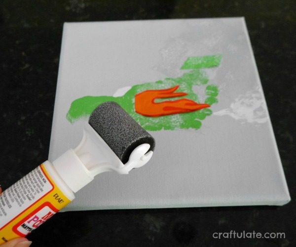Race Car Footprint Canvas - a wonderful keepsake and fun wall art project!