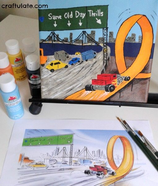 Race Car Footprint Canvas - a wonderful keepsake and fun wall art project!