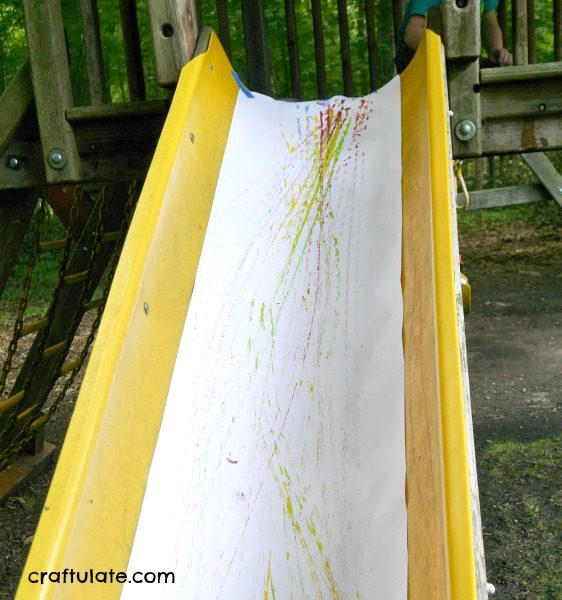 Car Ramp Painting - inside or outside art project for kids!