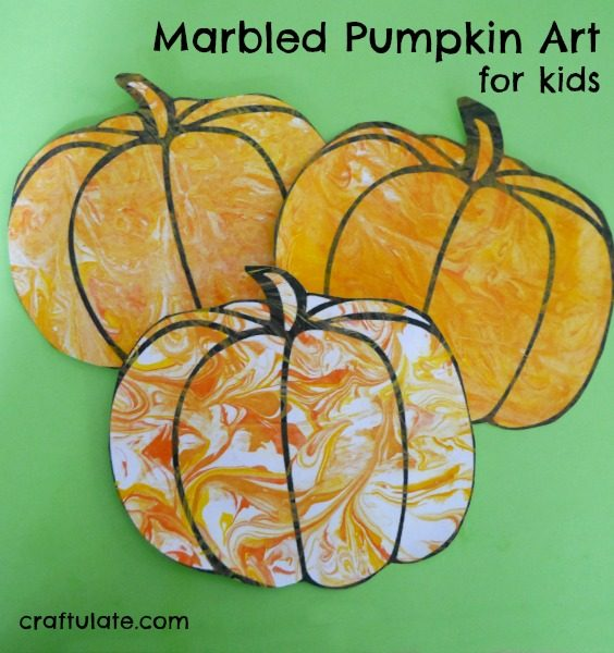 Marbled Pumpkin Art for Kids - a fun project for fall